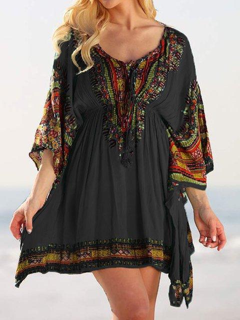 Boho Printed Summer Dresses Beach Holiday