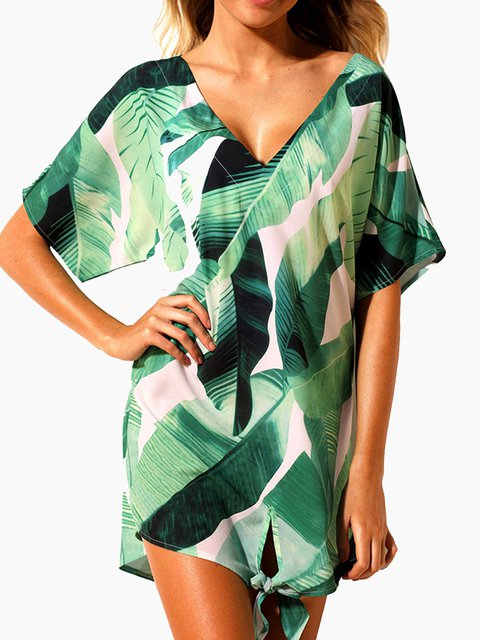 Women Cover Ups Beach  Floral Printed Summer Dresses
