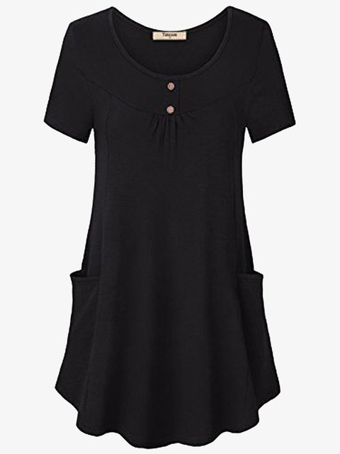 Simple Casual Cotton-Blend Short Sleeve T-Shirts