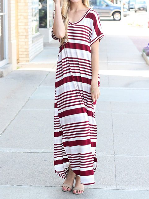 Wine Red Women Summer Dresses Going Out Striped Dresses