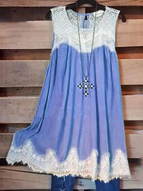 Round Neck Lace Paneled Solid Dresses