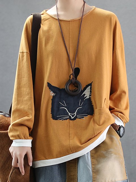 Casual Crew Neck Cotton-Blend Animal Cat Shirts