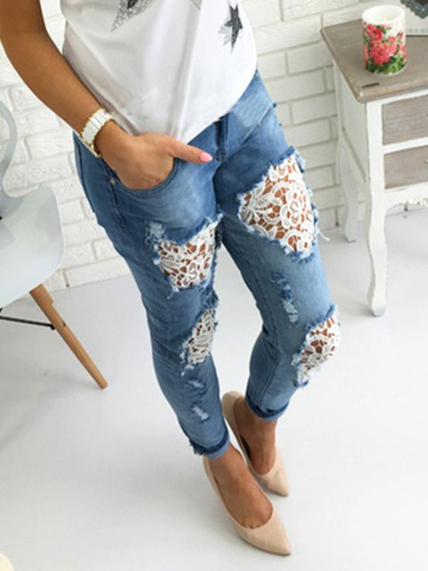 Blue Lace Solid Casual Paneled Pants