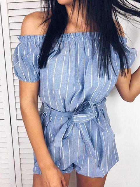 Short Sleeve Sweet Striped Pants