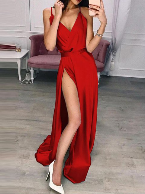 V Neck Women Dresses Party Plain Maxi Dresses