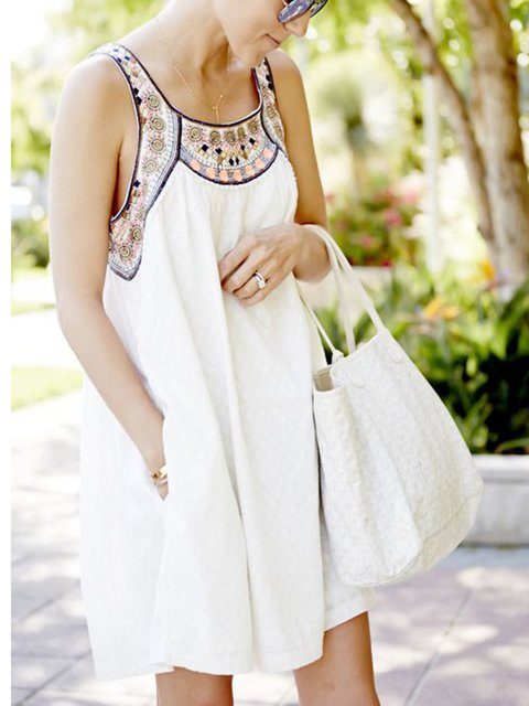 Crew Neck White Summer Loose Dresses Going Out Cotton