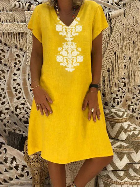 Summer Tribal Print V-Neck Shift Casual Dress