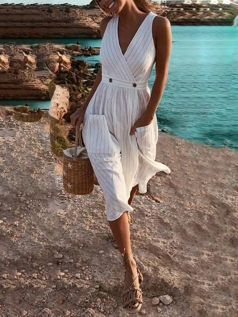 V Neck White Elegant Casual Striped Dresses