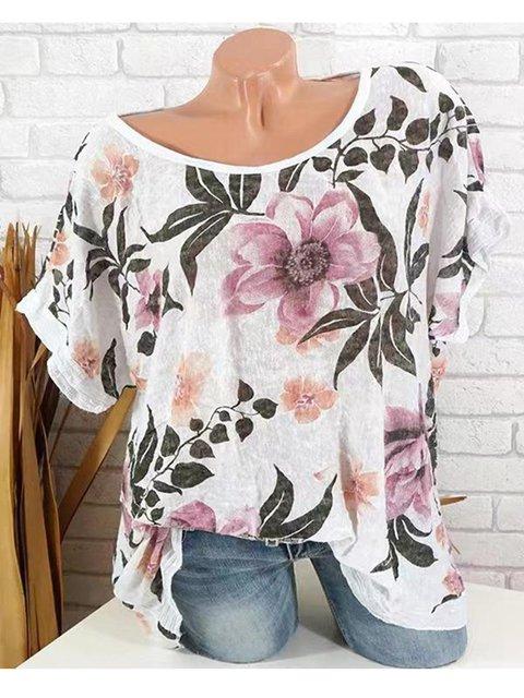 Summer Batwing Sleeves Floral Print Blouses