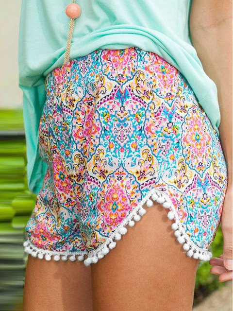 Fringed Tribal Printed/dyed Drawcord Resort Beach Shorts