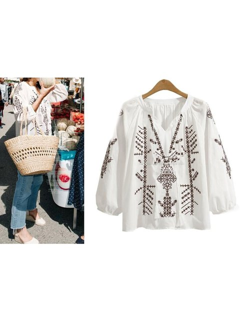 Embroidery 3/4 Sleeve V Neck Blouses