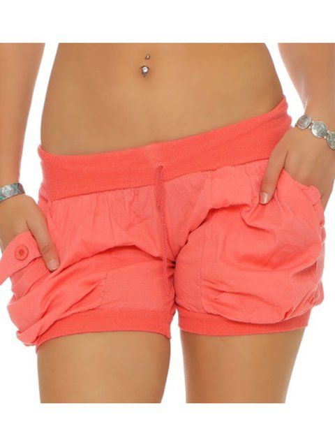 Plus Size Buttoned Pockets Solid Drawcod Casual Shorts Pants