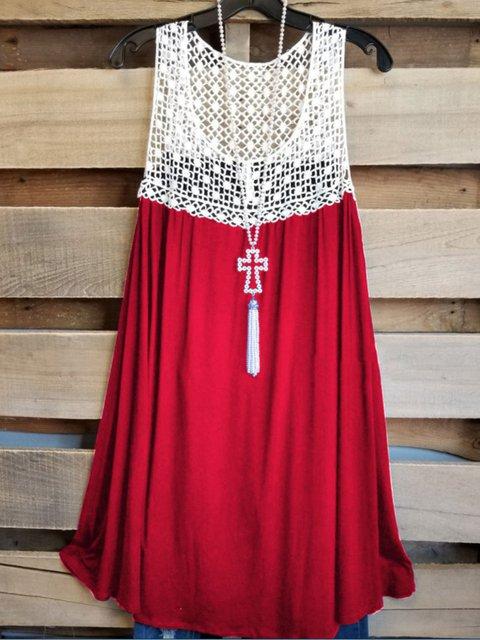Plus Size A-Line Lace Casual Petite Cami Dresses Long Tops