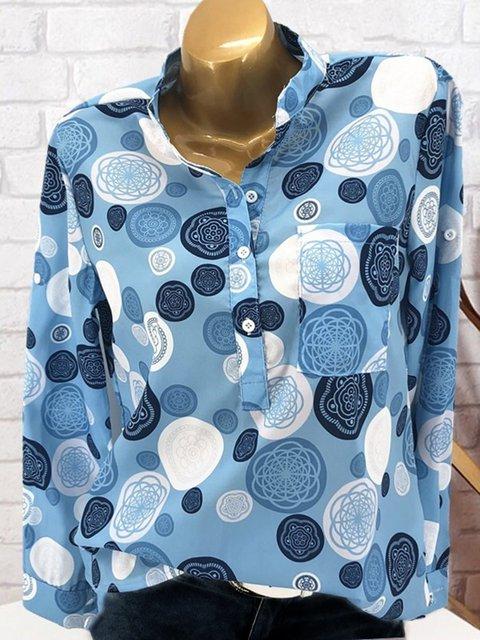 Spring/Fall Polka Dots Pockets Casual Shirts