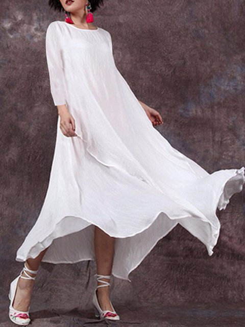 Crew Neck Women Casual Daytime Big Hem Dress Dresses