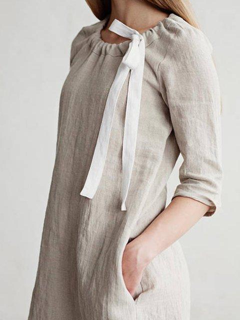 Crew Neck Women Dresses Sheath Daytime Linen Solid Dresses