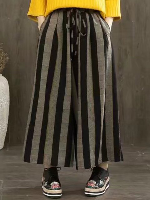 3 Colors Casual Striped Linen Pants