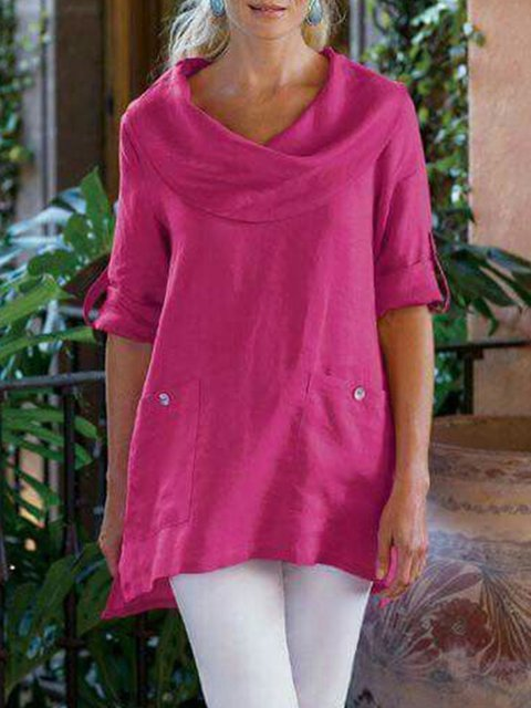Long Sleeve Casual Cowl Neck Cotton-Blend Shirts