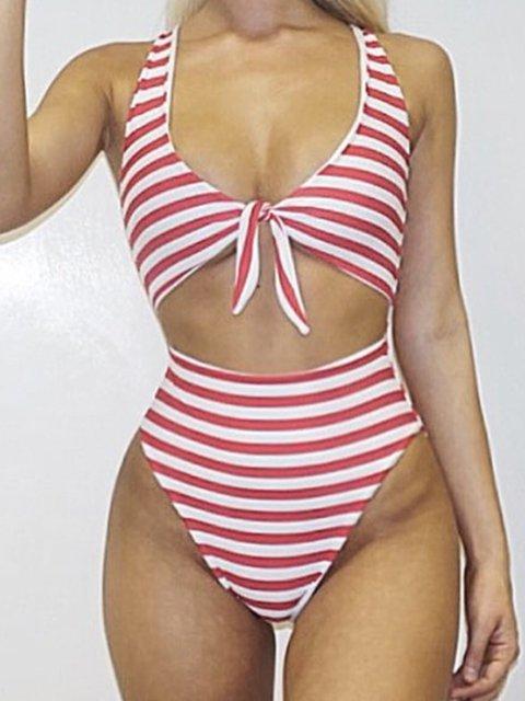 Bow Striped Sexy One Piece Beachwear Swimwear