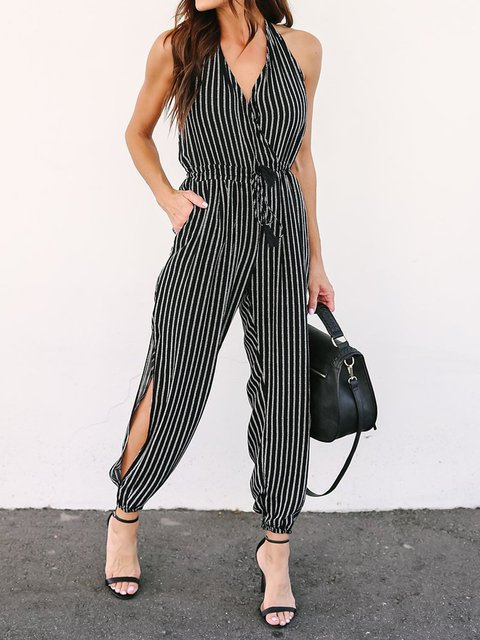 Stripe Sleeveless Elegant Jumpsuits Pants