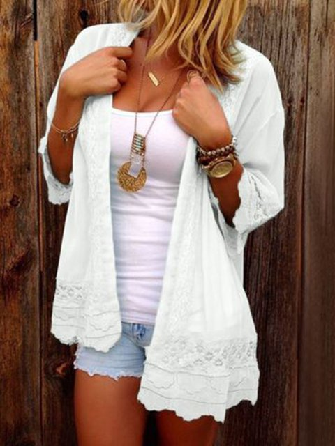 Plus Size Solid Long Sleeve Casual Chiffon Kimonos Tops