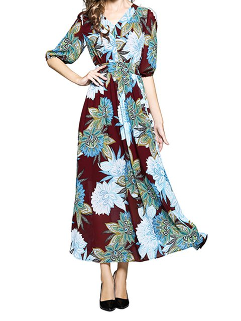 Half Sleeve Dresses Swing Daily Floral Maxi Dresses