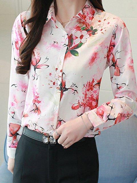 Plus Size Elegant Print Floral Shirts Tops