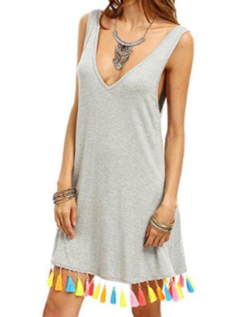 V Neck Fringed Boho Beach Casual Mini Dresses