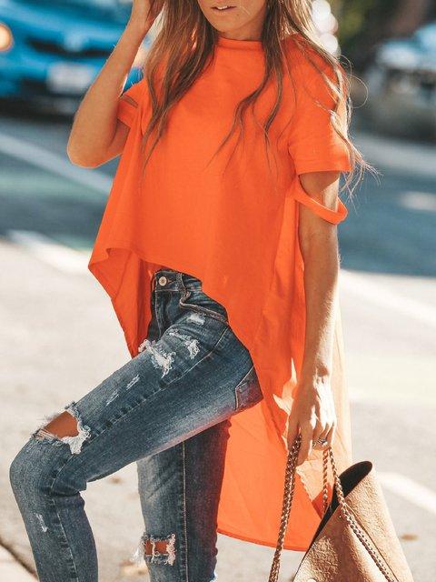 Summer Hi-Lo Hem Short Sleeve Stylish T-Shirts