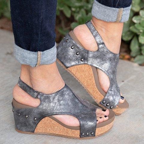 Magic Tape Wedge Sandals Summer Rivet Wedge Heel Sandals