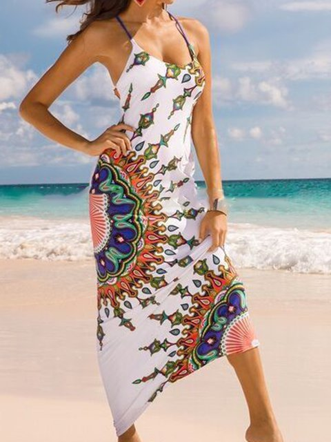 Spaghetti Backless Boho Tribal Summer Dresses Beachwear