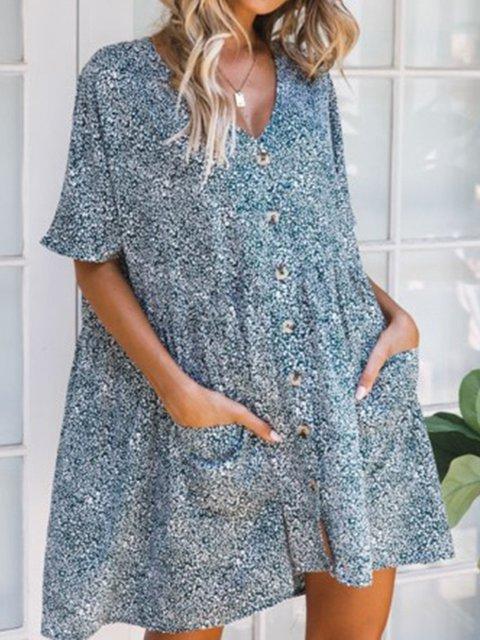 V Neck Women Summer Dresses Floral Dresses