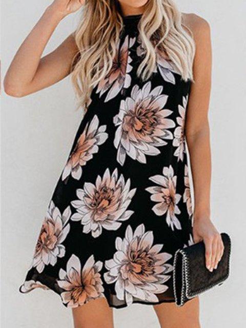Summer Floral Print Halter Swing Dresses