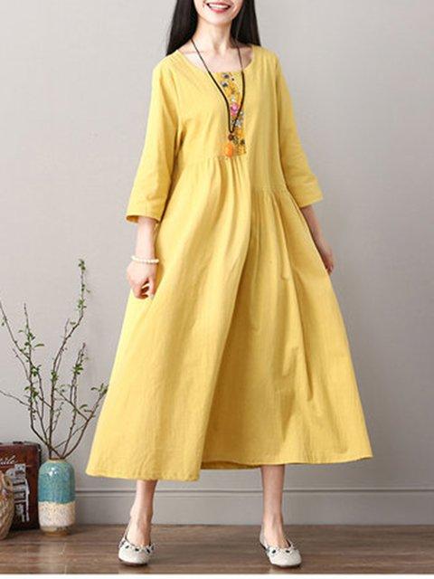 Vintage Casual Paneled  Long Sleeve Dress