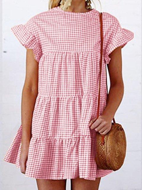 Summer Checkered Shirring Sweet Mini Dresses