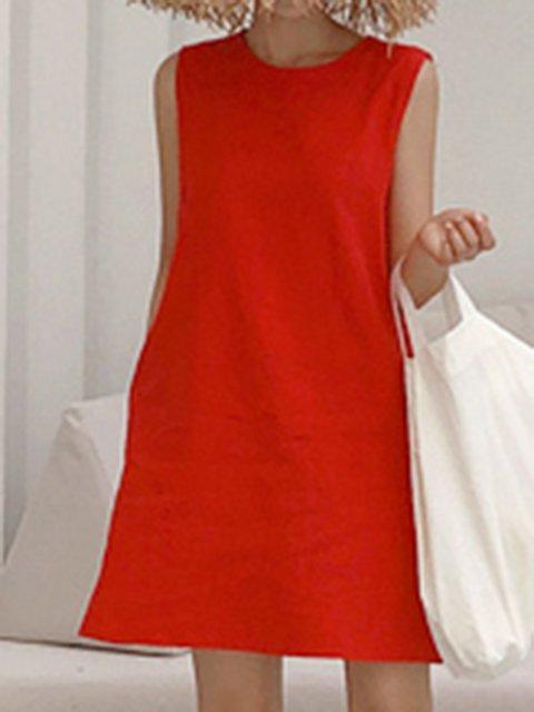 Crew Neck Women Dresses Daily Boho Linen Dresses