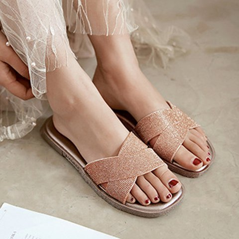 Womens Casual Summer Flat Heel Pu Slippers
