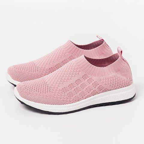 Womens Flat Heel Knitted Fabric Summer Sneakers