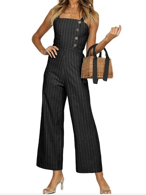 Striped Paneled Holiday Jumpsuits&rompers