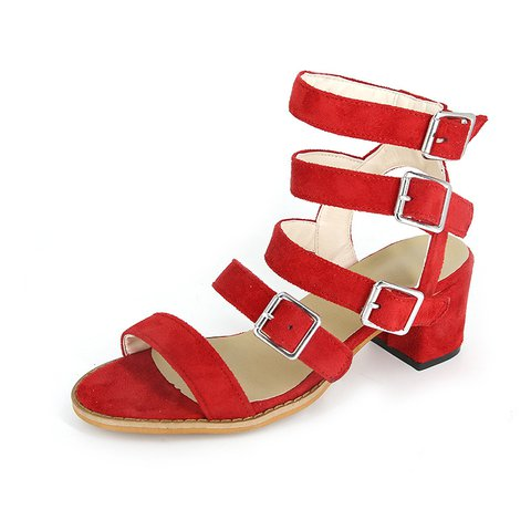 Women Open Toe Adjustable Buckle Chunky Heel Roman Sandals