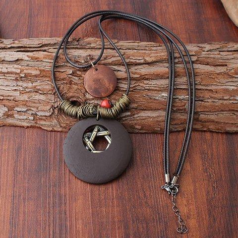 Brown Star Alloy Necklaces Vintage Boho Women Accessories