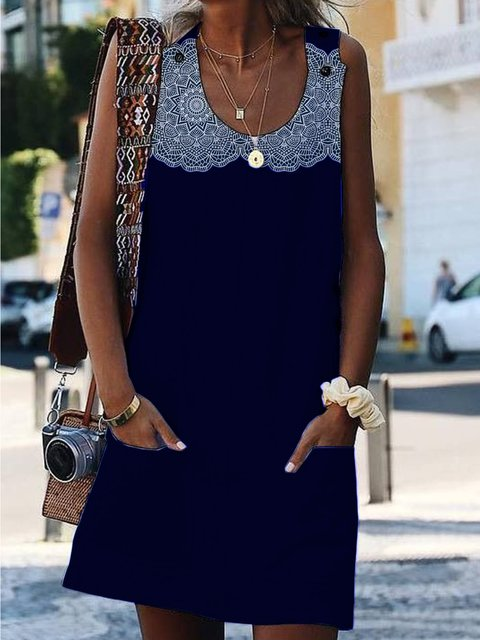 Navy Blue Crew Neck Appliqued Sexy Dresses