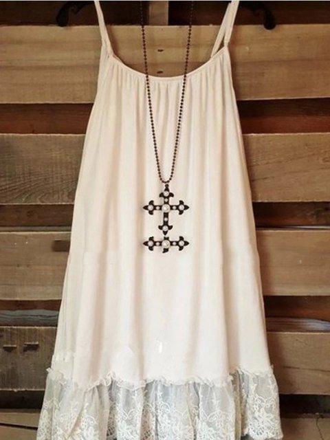 Summer Women Lace Paneled Spaghetti Dresses