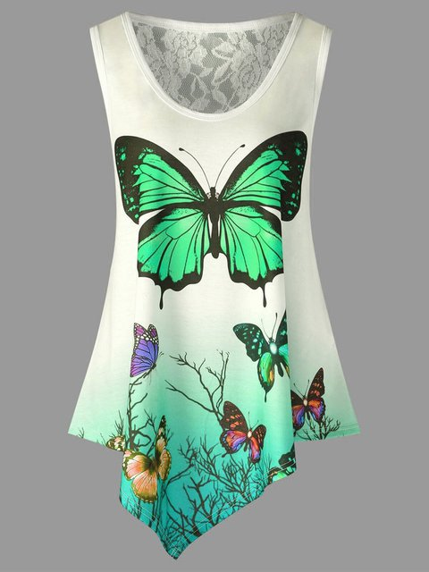 Plus Size Casual Butterfly Print Sleeveless Camis Tops