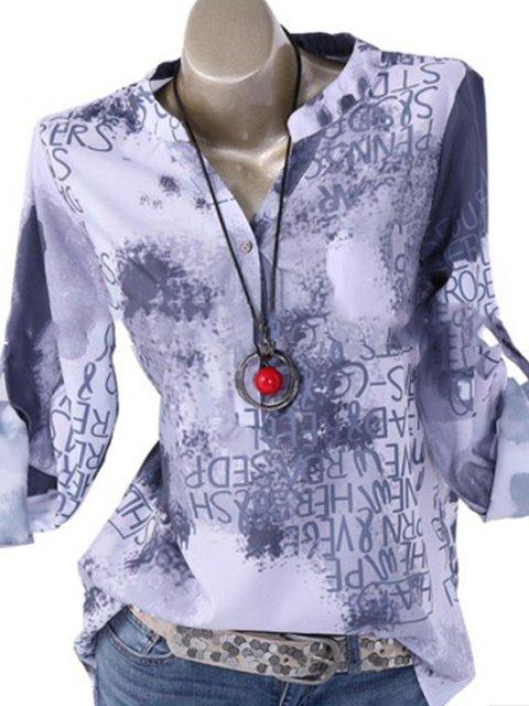 e49b0ba4c9447d Letter Print Long Sleeve Stand Collar Blouses Plus Size Tops ...