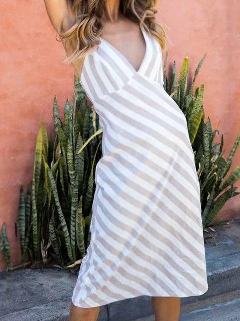 V Neck Stripe Women Summer Dresses Beach Paneled Striped Dresses