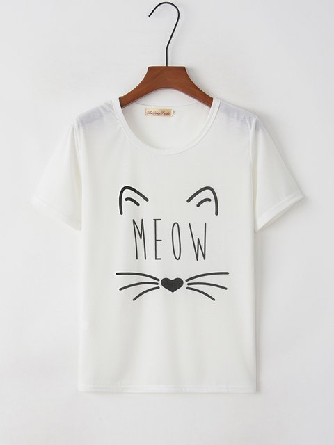 Simple & Basic Meow Letter Printed Short Sleeve T-Shirts