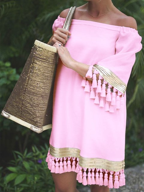 Solid Shor Sleeves Tassel Vacation Dresses