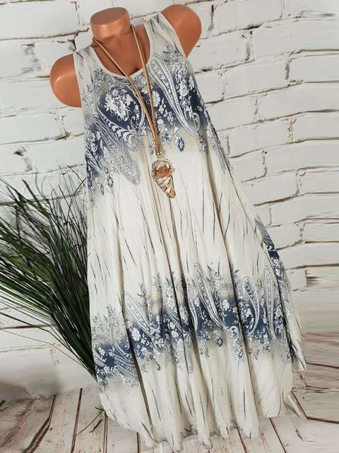 Summer Floral Round Neck Swing Dresses