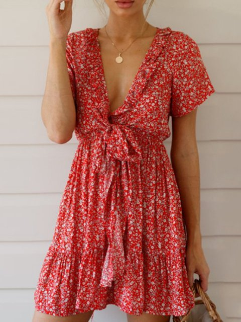Fashion V neck red summer daily swing floral dresses